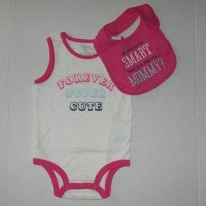 New Girls 18 mths Carter's Slogan Bodysuit & Bib